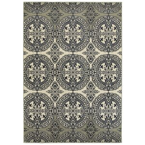 Newsome Floral Medallions Navy Area Rug