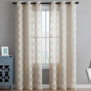Lewis Geometric Sheer Grommet Curtain Panels (Set of ...