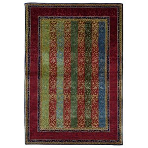 Garman Modern Design Hand-Woven Wool Red/Green/Blue Area Rug