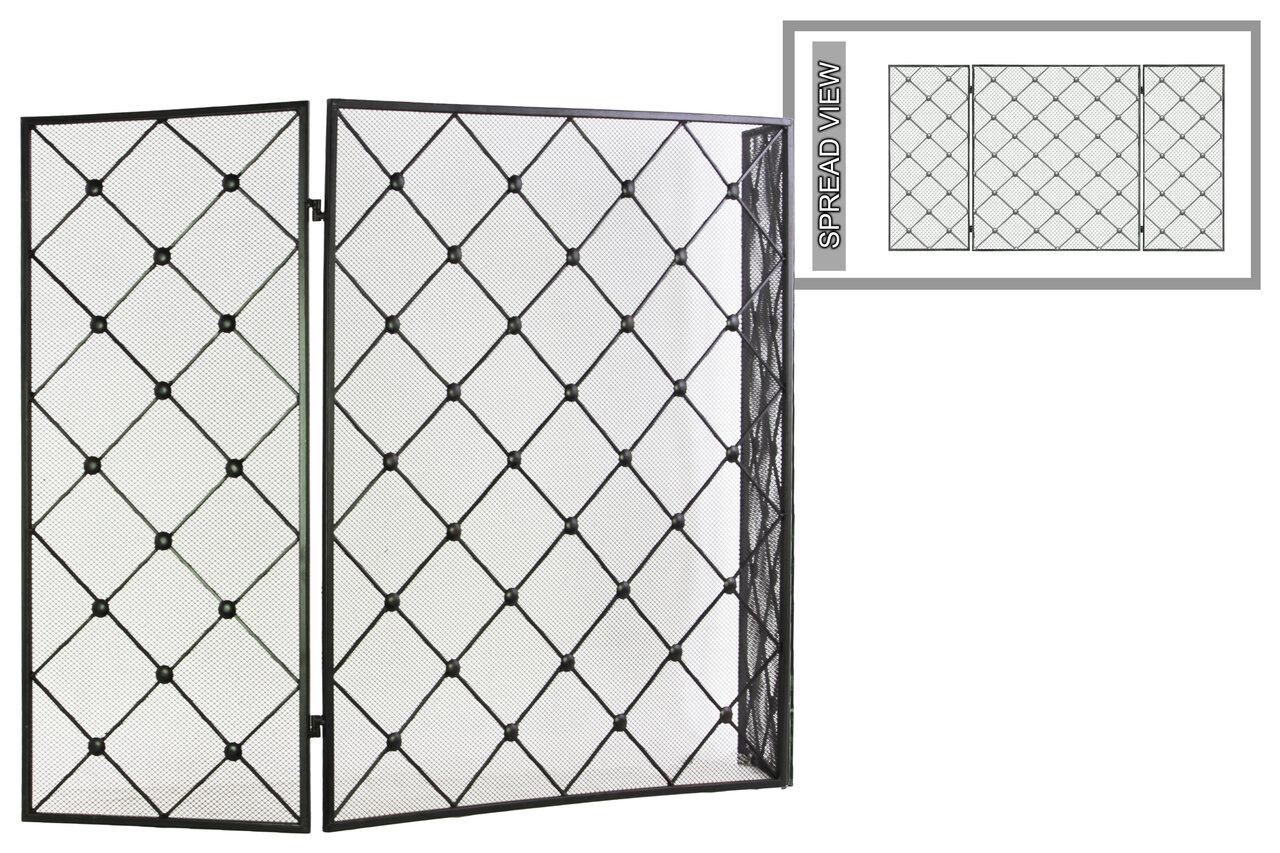 Benzara Diamond Mesh Designed Hinged 3 Panel Metal Fireplace Screen