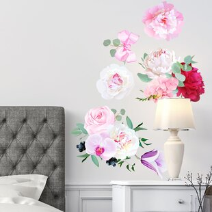 Nature flower wall decals youll love wayfair peony flowers seasonal bouquet wall decal mightylinksfo