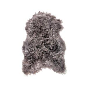 Algernon Long-Haired Hand-Woven Sheepskin Gray Area Rug