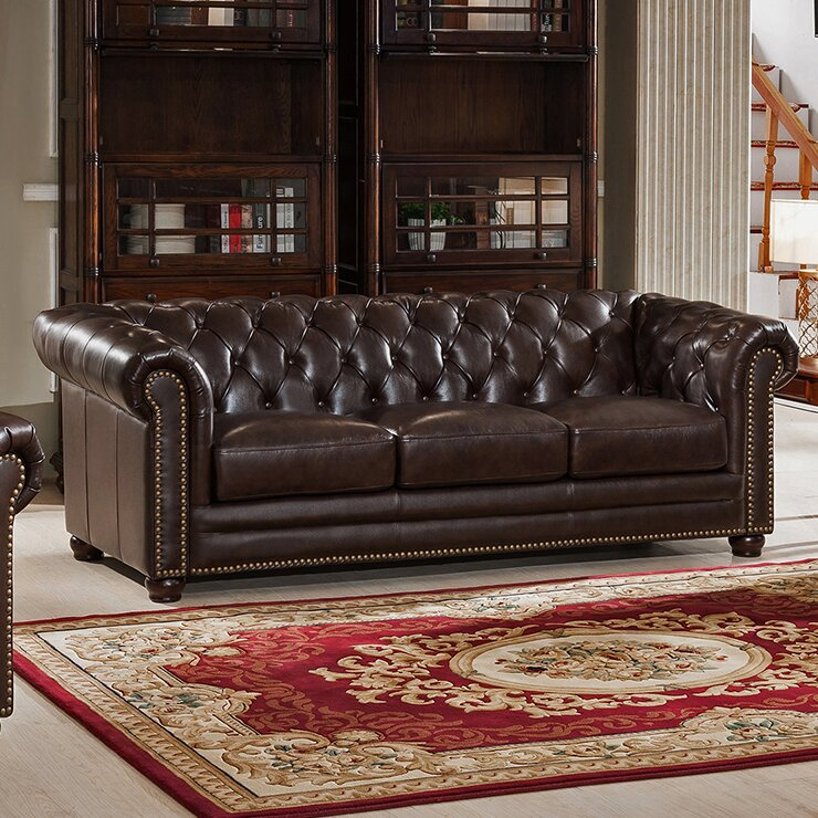 Amax Kensington Top Grain Leather Chesterfield Sofa Reviews
