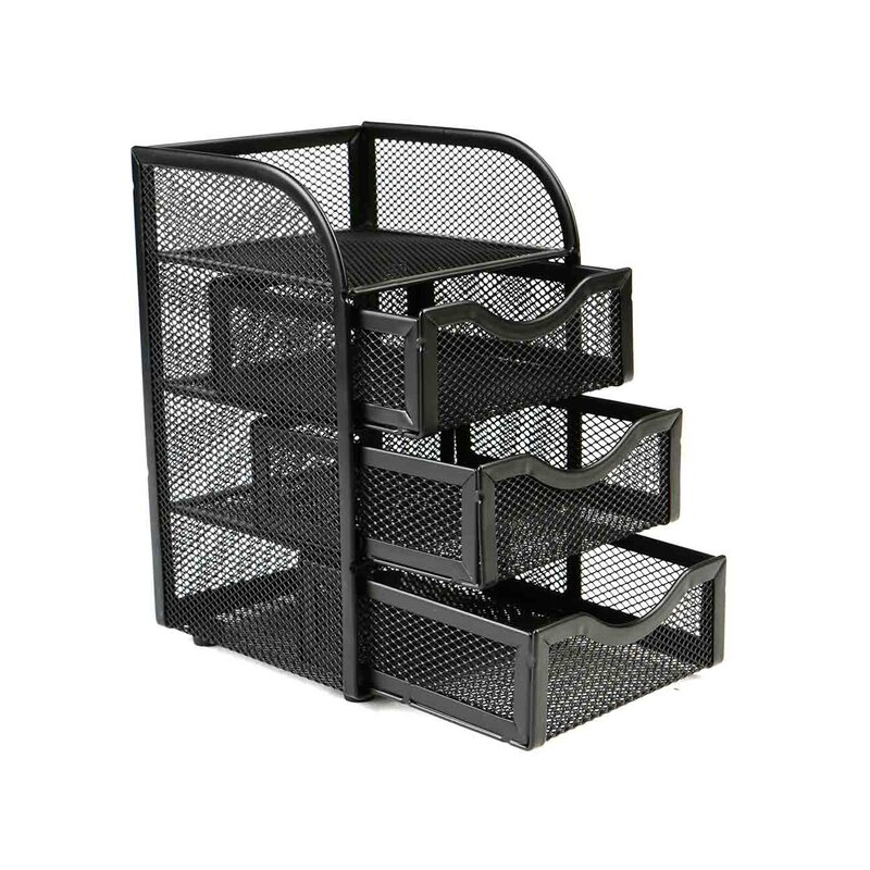 Mesh Mini 3 Drawer Office Supply Organizer