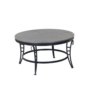Emerald Home Emmerson Cathedral Grey And Black 35 Coffee Table With Round Top Metal Legs