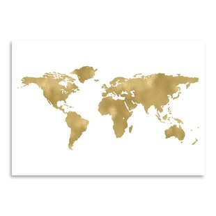 Black white map wall art youll love wayfair world map gold on white graphic art print gumiabroncs Gallery