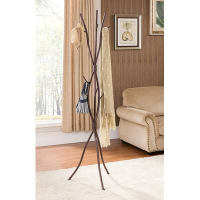 6822a8a411298 Winston Porter Metal Black and Walnut Standing Coat Rack   Reviews ...