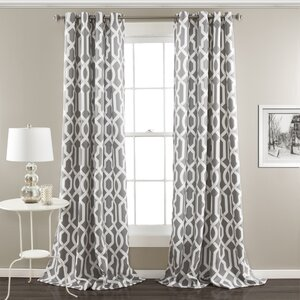 Maximilian Geometric Room Darkening Thermal Grommet Curtain Panels (Set of 2)