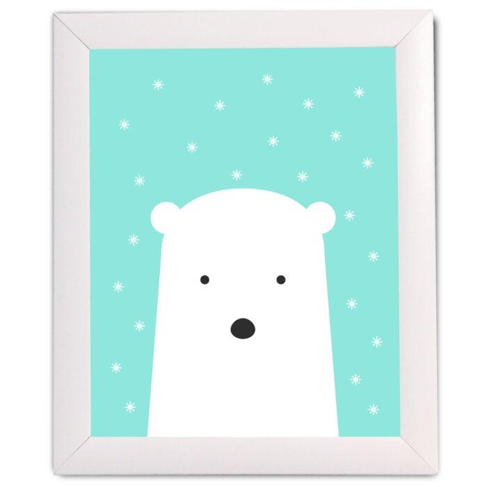 FancyHuLi Polar Bear with Snowflakes by Ivy Framed Art   Wayfair.ca