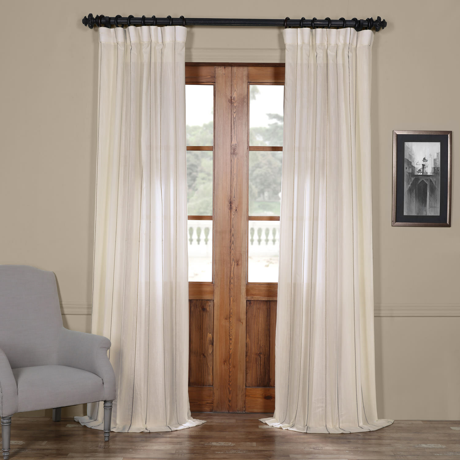 Half Price Drapes Aruba Striped Sheer Rod Pocket Single