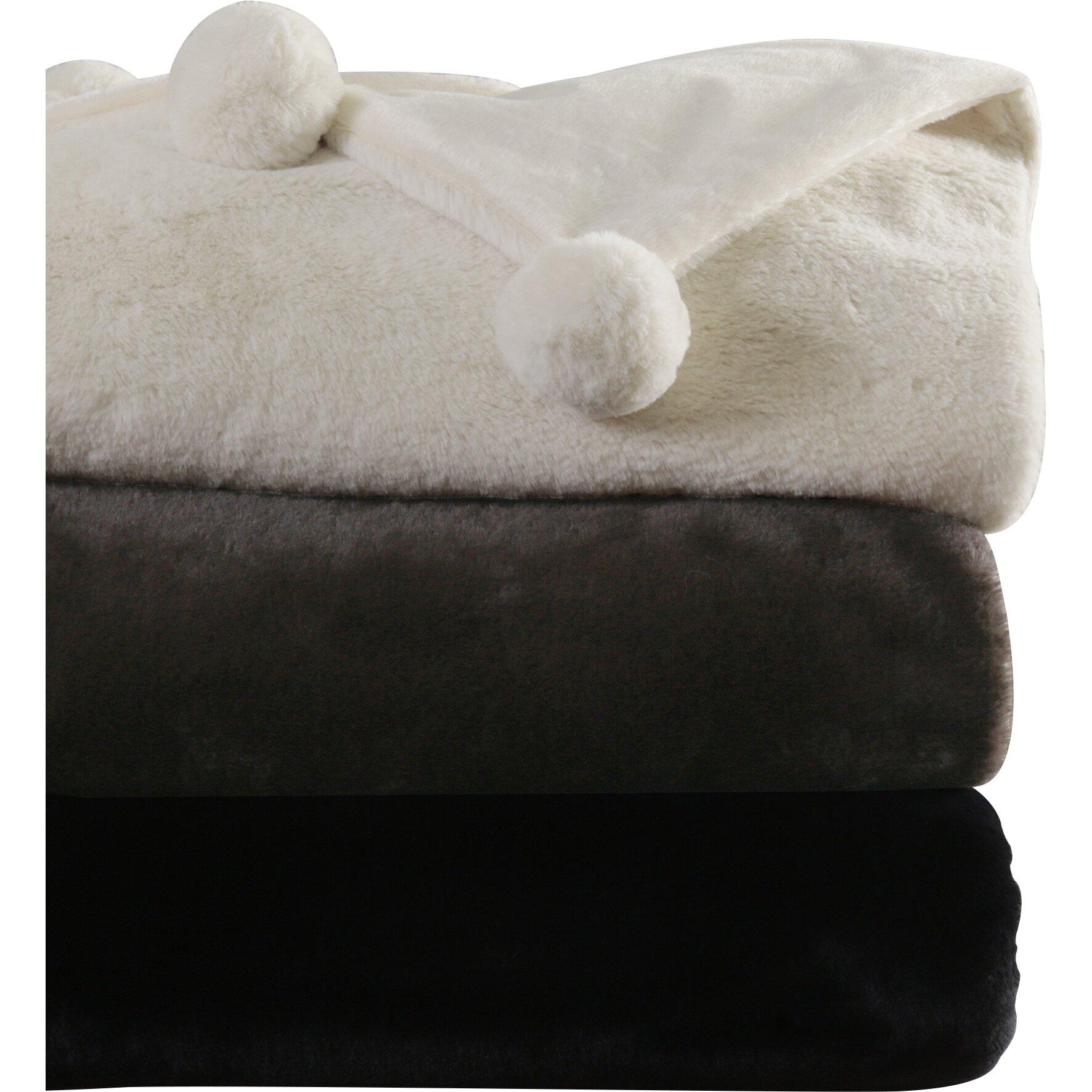 Best Home Fashion Inc Luxe Faux Fur Pom Pom Throw