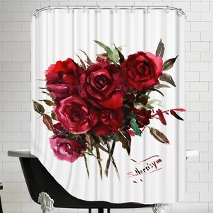 Deep Red Burgundy Roses Shower Curtain