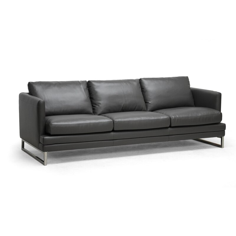 Kenwith Pewter Gray Bonded Leather Sofa Birch Frame U0026 Black Legs