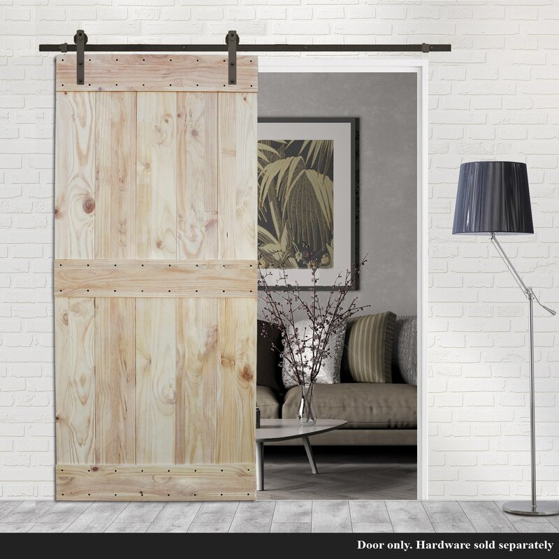 Two Side Mid Bar Solid Wood Paneled Pine Slab Interior Barn Door