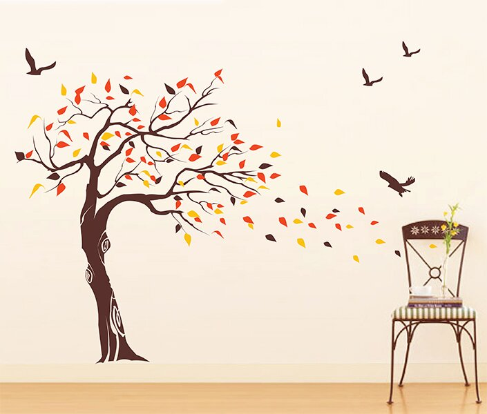 Beautiful Tree And Birds Wall Decal Part 56