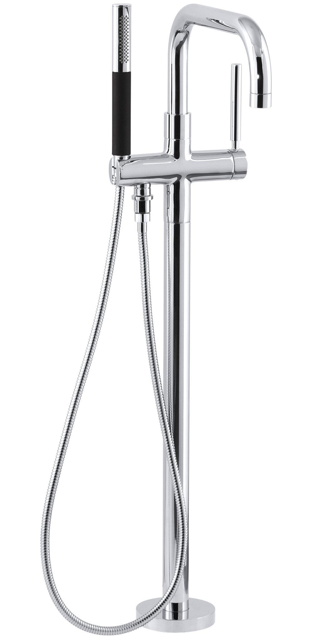 K T97328 4 BN,CP,SN Kohler Purist Single Handle Floor Mount Tub Filler With Hand  Shower U0026 Reviews   Wayfair