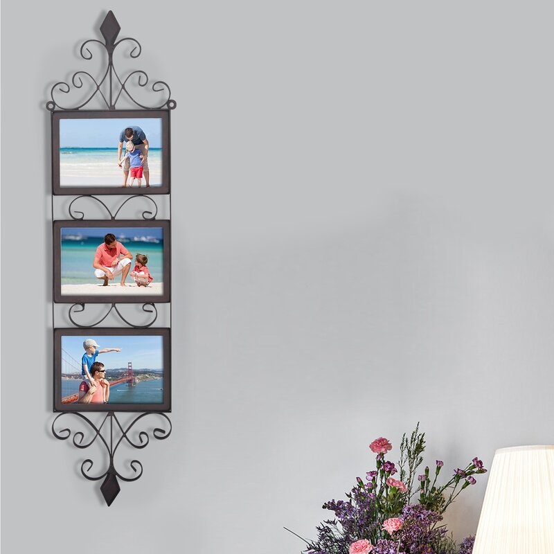 3 Opening Decorative Iron Metal Wall Hanging Collage Picture Frame Birch Lane