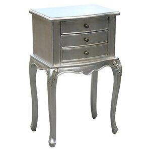 Nachttisch Silver Boudoir Furniture mit 3 Schub..