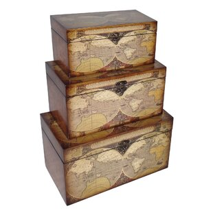 Small trunk boxes wayfair 3 piece small trunk with expeditionary map design set gumiabroncs Gallery