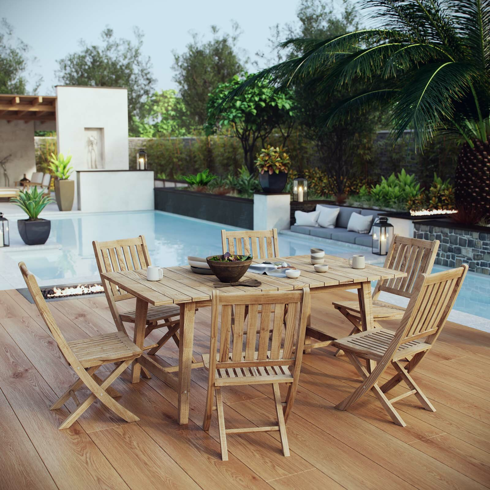 Modern rustic interiors anthony outdoor patio 7 piece teak - Outdoor interiors 7 piece patio set ...
