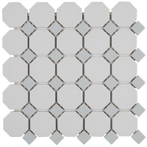 Osmond 2 x 2 Ceramic Tile in Matte White/Black