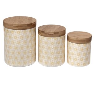Daisy Dots Ceramic Kitchen Canister Set Of 3