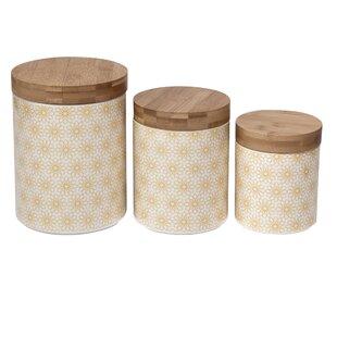 Daisy Dots Ceramic Kitchen Canister Set (Set Of 3)