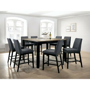 Reiff Contemporary Style Counter Height Wire 9 Piece Pub Table Set