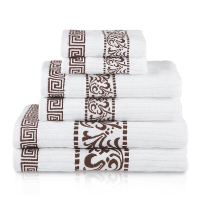 House of Hampton Smithton 6 Piece 100% Cotton Towel Set Color: Chocolate