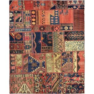 Sela Vintage Persian Hand Woven Dyed Wool Red Patchwork Area Rug
