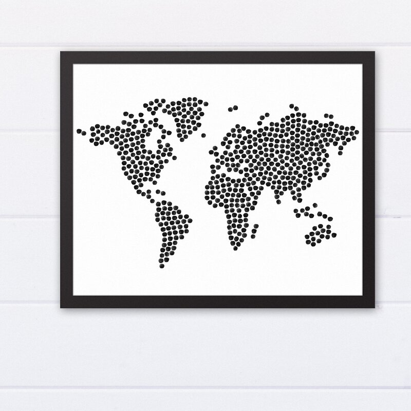Black dots world map graphic art print black dots world map graphic art print gumiabroncs Choice Image
