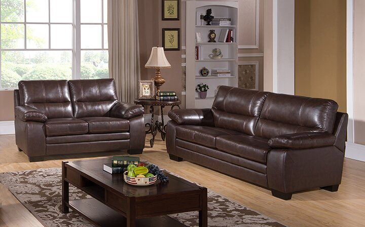 Red Barrel Studio Hutchings 2 Piece Leather Living Room
