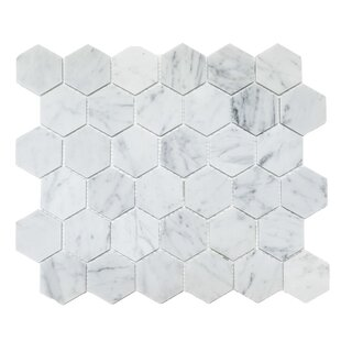 Honeycomb Hex Polished 2 X Mosaic Tile In Bianco Carrara