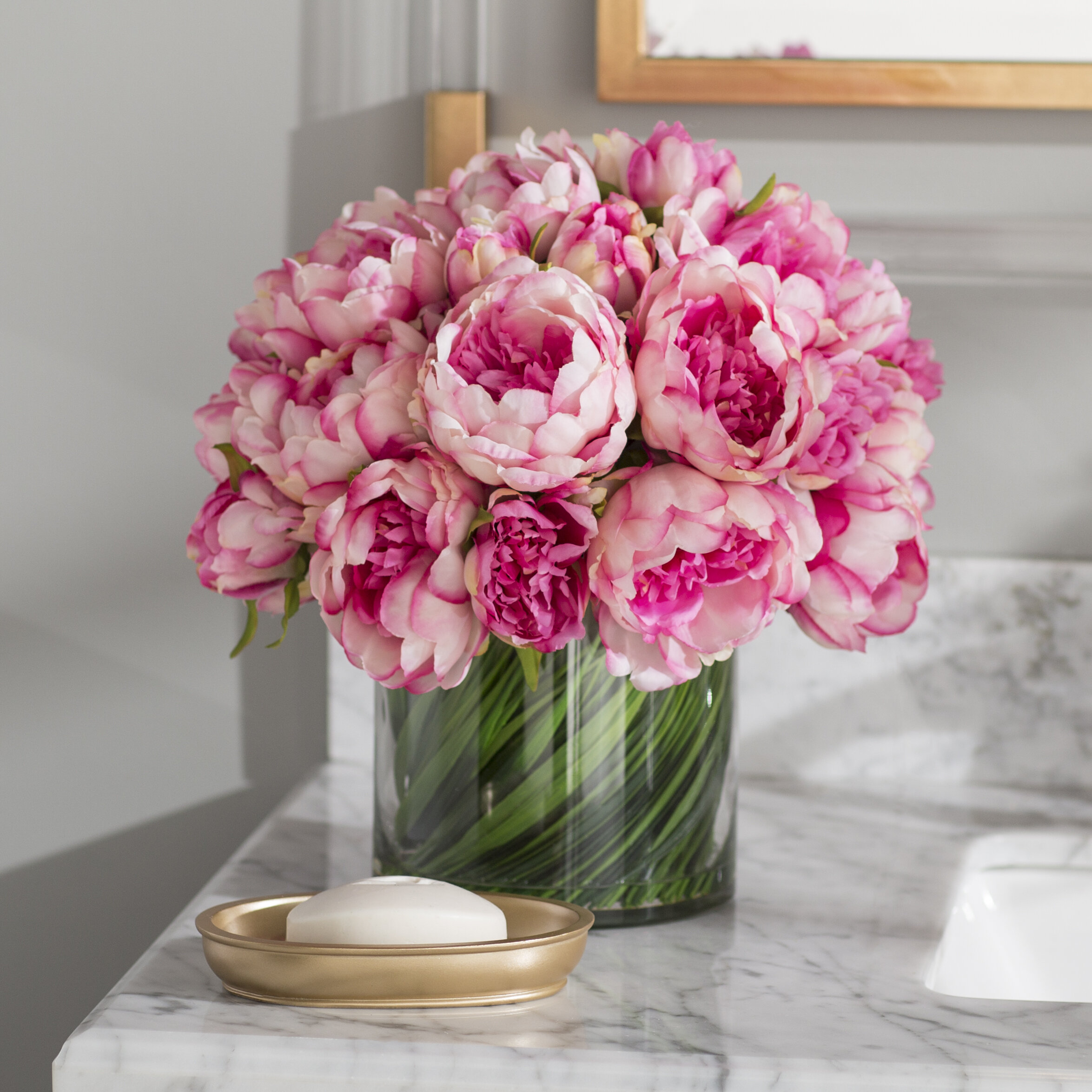 Willa Arlo Interiors Faux Magenta Pink Peony Fl Arrangement In Gl Vase Reviews Wayfair