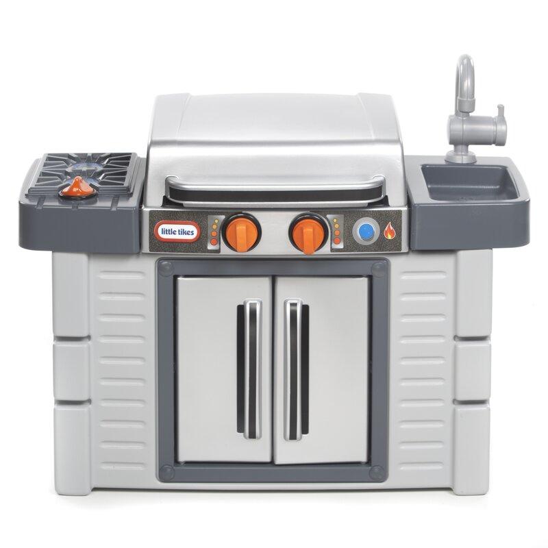 little tikes cook 'n grow™ bbq grill kitchen set & reviews | wayfair