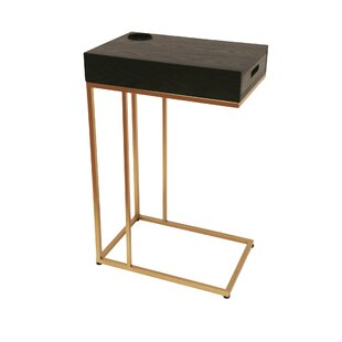 Aldrich Metal Wood End Table With Removable Tray