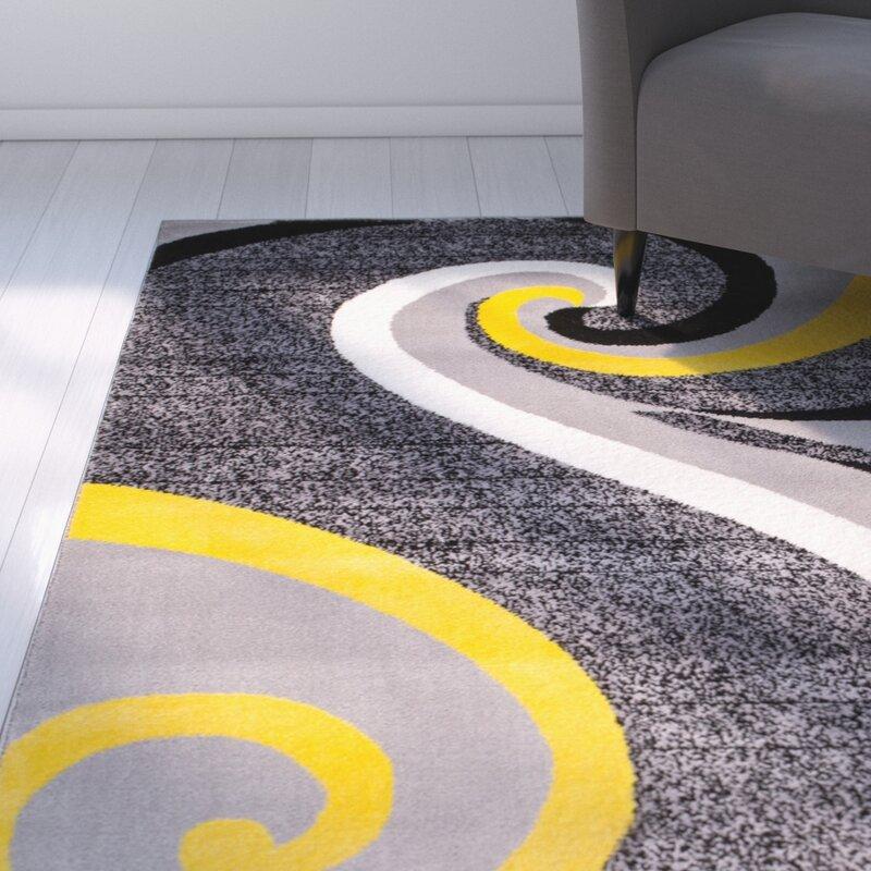 Rick Gray Yellow Indoor Area Rug
