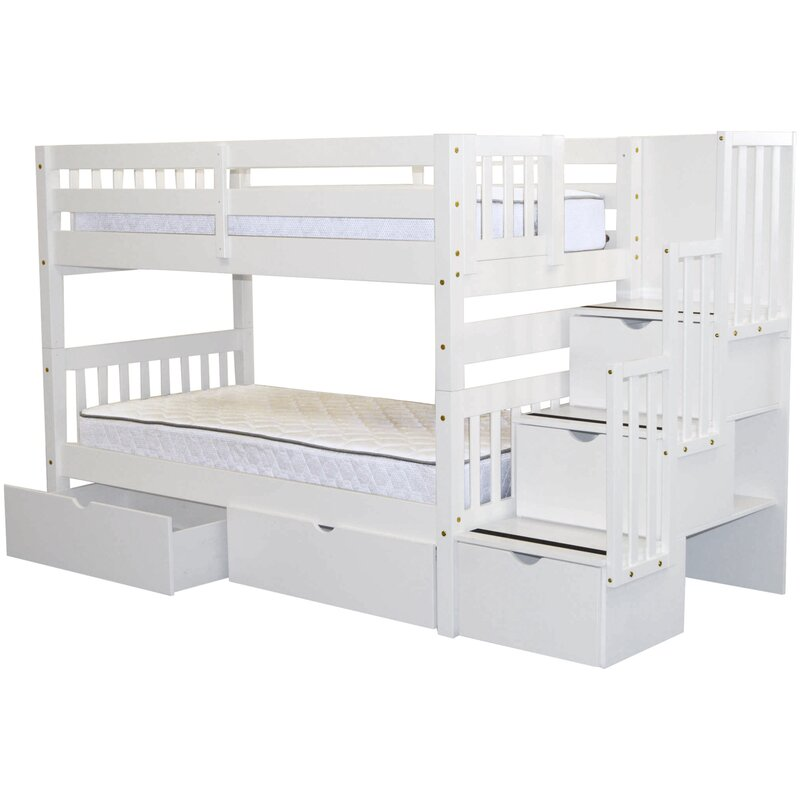 Tena Twin Over Twin Bunk Bed With Extra Storage Reviews Birch Lane