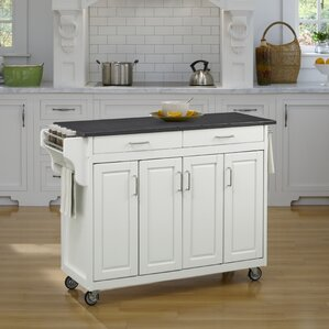 Regiene Kitchen Cart with Quartz Top by August Grove