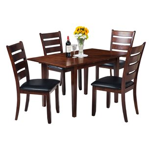 Assante Modern 5 Piece Solid Wood Dining Set with Butterfly Leaf Table
