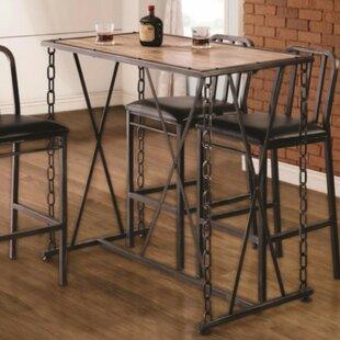 Mccowan Rustic Industrial Metal Chain Link Pub Table