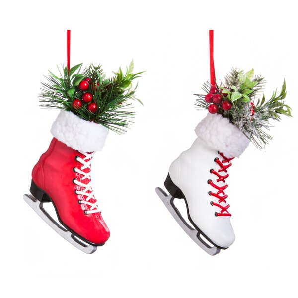 cypress plastic ice skate ornament accessory set reviews wayfair - Ice Skate Christmas Decoration