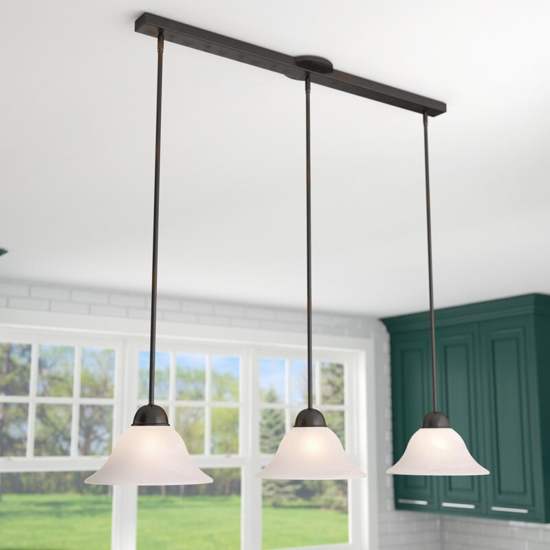 3 light island pendant single engelbrecht 3light kitchen island pendant three posts reviews