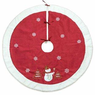 Christmas Snowflake Fur Edge Modern Embroidered Tree Skirt