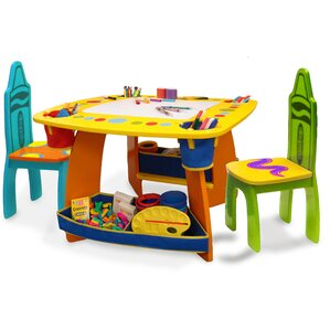 Crayola Wooden Kids 3 Piece Table and Chair Set  sc 1 st  Wayfair & Kidsu0027 Table and Chairs islam-shia.org