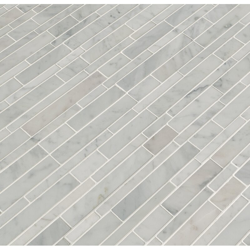 MSI Carrara Rsp Pattern Polished Random Sized Marble Mosaic Tile in ...