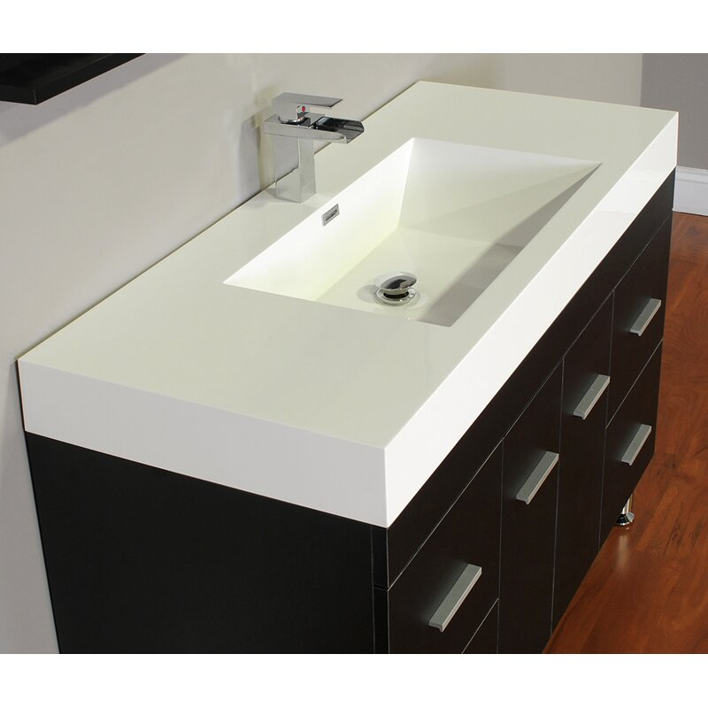 Wade Logan Truby Single Modern Bathroom Vanity Set Reviews - Bathroom vanities delray beach fl