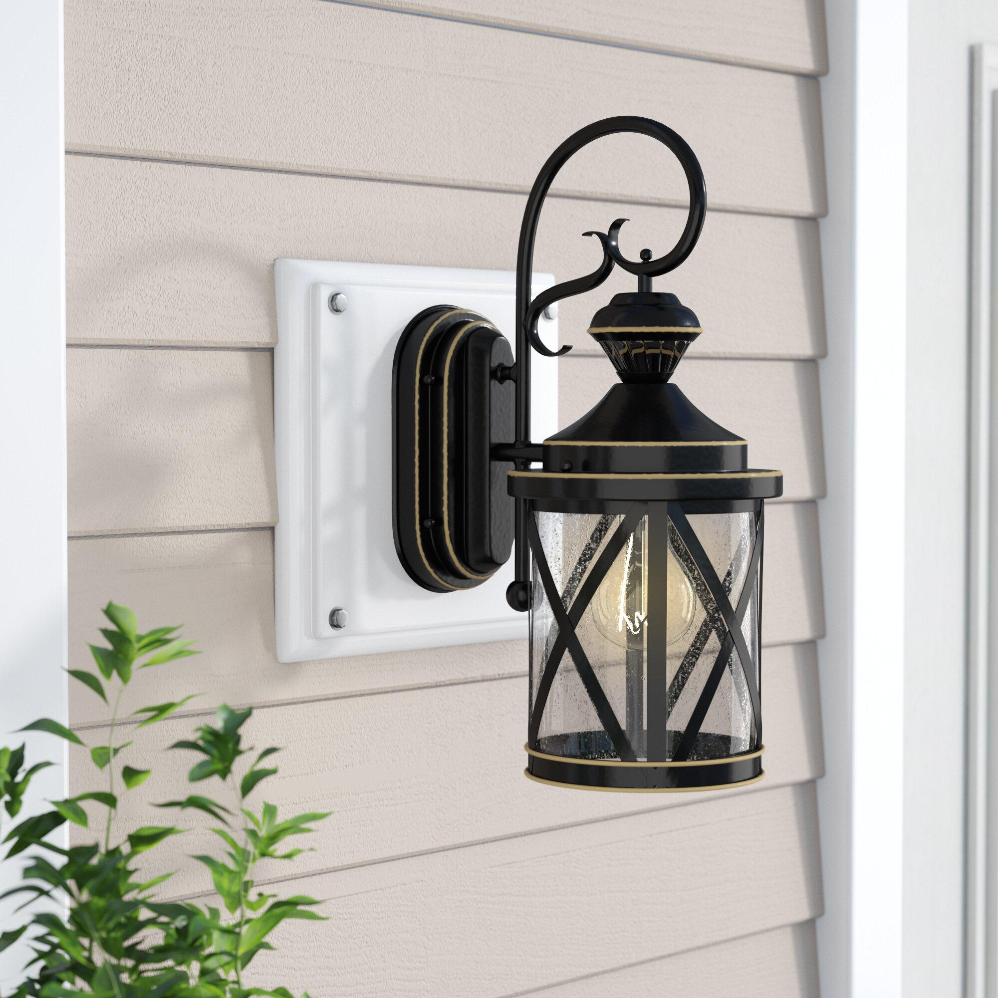 Motion sensor outdoor wall lighting youll love wayfair langport 1 light black outdoor wall lantern arubaitofo Gallery