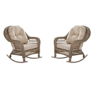 Perfect Ophélie Outdoor Garden Cappuccino 2 Piece Rocking Chair Set With Cushions