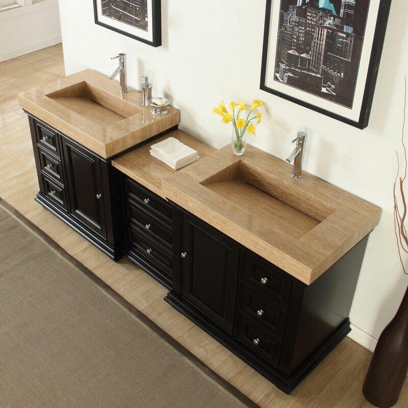 90 Double Sink Modern Bathroom Vanity Set